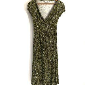Boden Green Animal Print Wrap Front Midi Dress